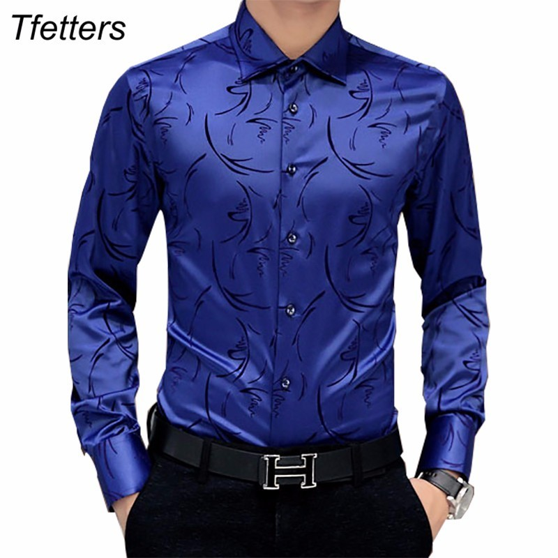 [해외]TFETTERS 2017 Arrival Luxury Brand Mens 정장 셔츠 긴 Retail 꽃 무늬 남성 셔츠 Tuxdeo Shirt 디자이너 셔츠 플러스 사이즈 5XL/TFETTERS 2017 Arrival Luxury Brand Mens Formal