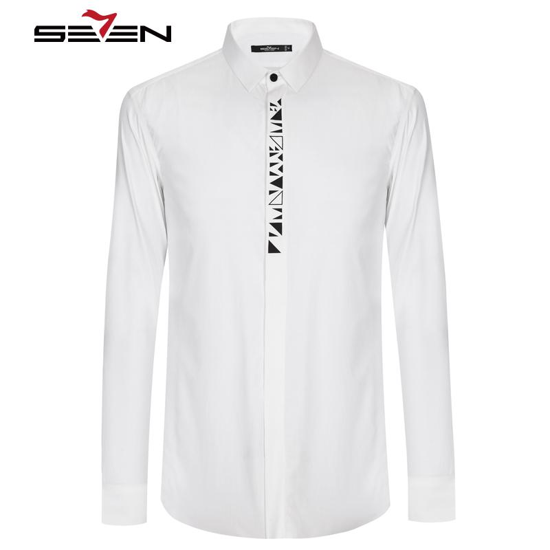 [해외]세븐 일곱 망 드레스 셔츠 면화 캐주얼 슬림 맞는 긴 Retail 화이트 블랙 남성 비즈니스 턱시도 셔츠 남성 브랜드 의류 112A38080/Seven7 Mens Dress Shirts Cotton Casual Slim Fit Long Sleeve White B
