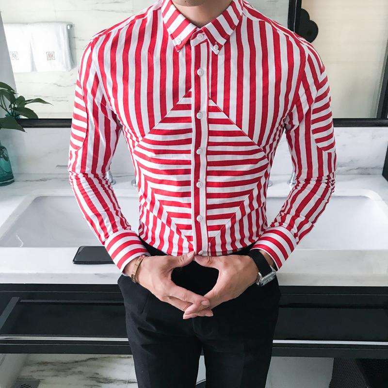[해외]?남성 스트라이프 셔츠 패션 2018 봄 새로운 한국 슬림 맞는 사회 셔츠 남성 긴 Retail 캐주얼 남성 드레스 셔츠 3XL/ Men Striped Shirt Fashion 2018 Spring New Korean Slim Fit Social Shirts M