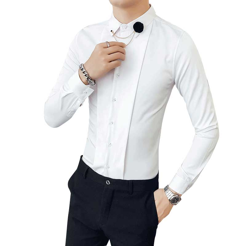 [해외]2018 럭셔리 남성 셔츠 긴 Retail 드레스 셔츠 코튼 화이트 블랙 셔츠 남성용 슬림 피트 턱시도 셔츠 플러스 사이즈 Chemise/2018 Luxury Men Shirts Long Sleeve Dress Shirts Cotton White Black Sh