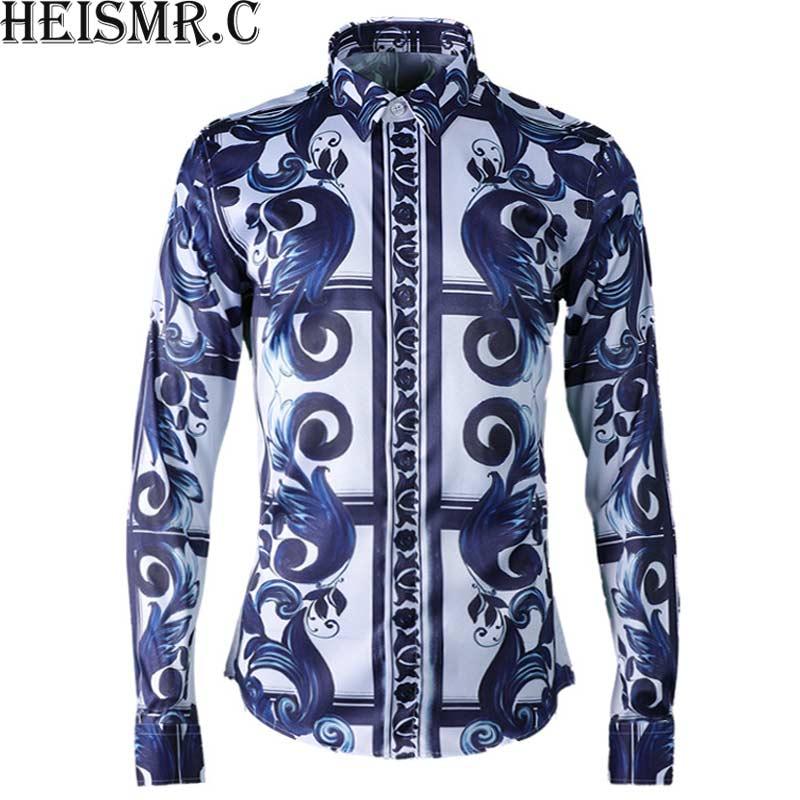 [해외]새로운 2018 망 브랜드 셔츠 청자 인쇄 어 스타일 셔츠 남자 & s 긴 Retail 드레스 셔츠 남자 고급스러운 턱시도 셔츠 HJK161/New 2018 Mens Brand Shirts Celadon Printing Chinese Style Shirt