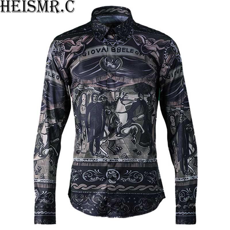 [해외]HEISMR.C 새로운 2018 망 브랜드 셔츠  로얄 인쇄 셔츠 남자 & s 긴 Retail 드레스 셔츠 남자 고급스러운 턱시도 셔츠 HJK162/HEISMR.C New 2018 Mens Brand Shirt Chinese Royal Printing S