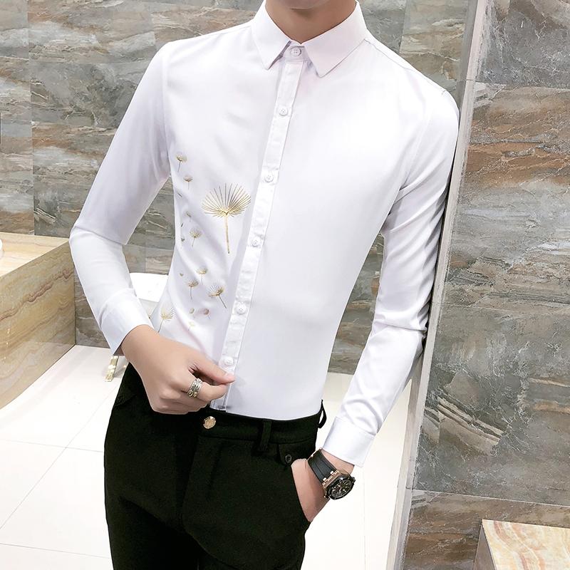 [해외]봄 2018 새로운 화이트 셔츠 남자 패션 인쇄 슬림 피트 멘 남성 턱시도 긴 Retail 캐주얼 파티 드레스 사회 셔츠 3XL-M/Spring 2018 New White Shirt Men Fashion Print Slim Fit Mens Tuxedo Shirt