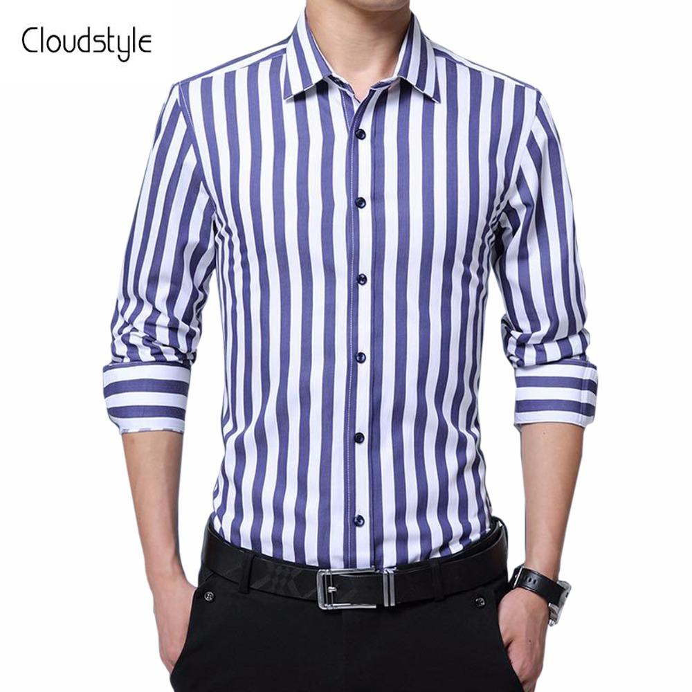 [해외]Cloudstyle 패션 남성 스트라이프 셔츠 캐주얼 슬림 맞는 긴 Retail 다운 - 다운 칼라 드레스 셔츠 남성 정장 순수한 색깔 착용/Cloudstyle Fashion Male Striped Shirts  Casual Slim Fit  Long Sleev