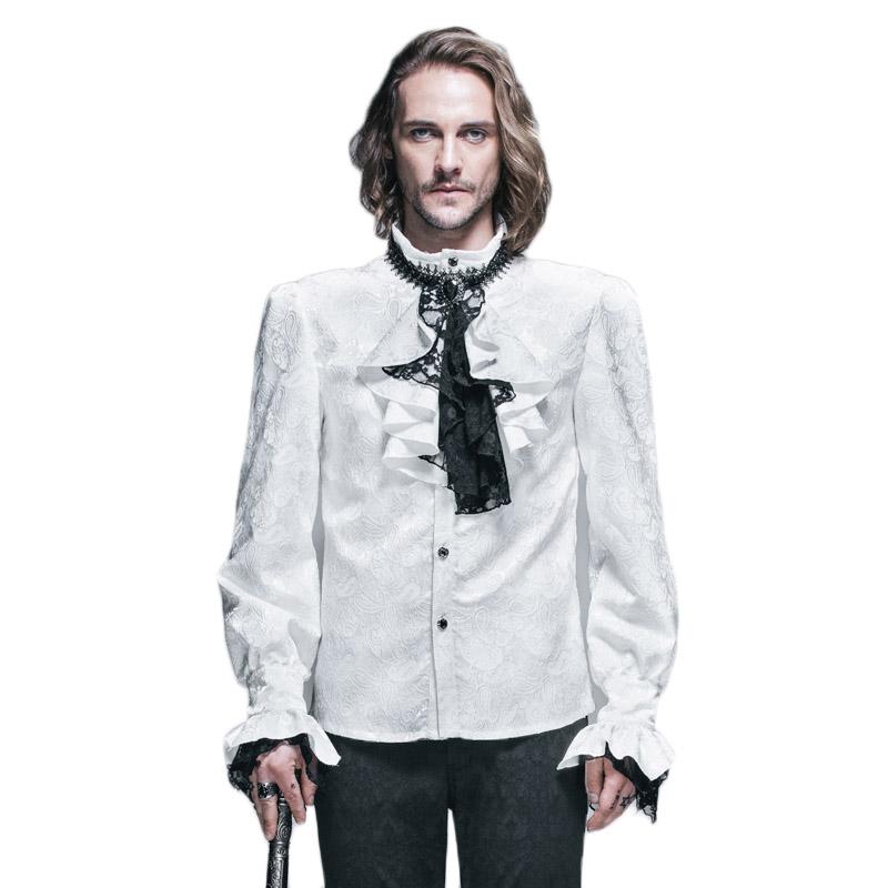 [해외]악마 패션 고딕 양식의 빛나는 남자 턱시도 셔츠 펑크 흰색 블라우스 파티 타이 셔츠 쥬얼리 긴 Retail 셔츠 패턴/Devil Fashion Gothic Shining Men Tuxedo Shirt Punk White Blouses Party Tie Shirt