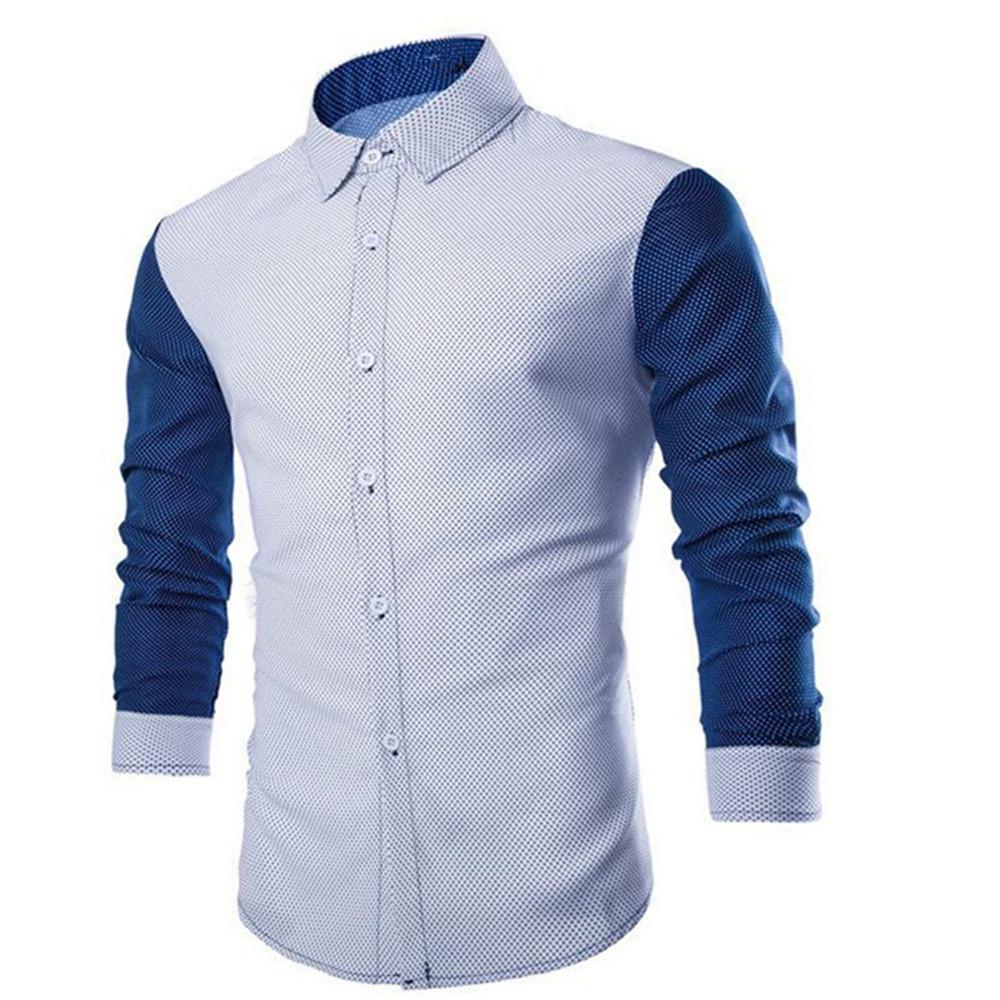 [해외]한국어 스타일 패치 워크 셔츠 소년 슬림 Blusa 오피스 의류 조수 남자 짧은 셔츠 봄 신사원 긴팔 캐주얼 블라우스/Korean Style Patchwork Shirt Boy Slim Blusa Office Clothes Tide Man Brief Shirts