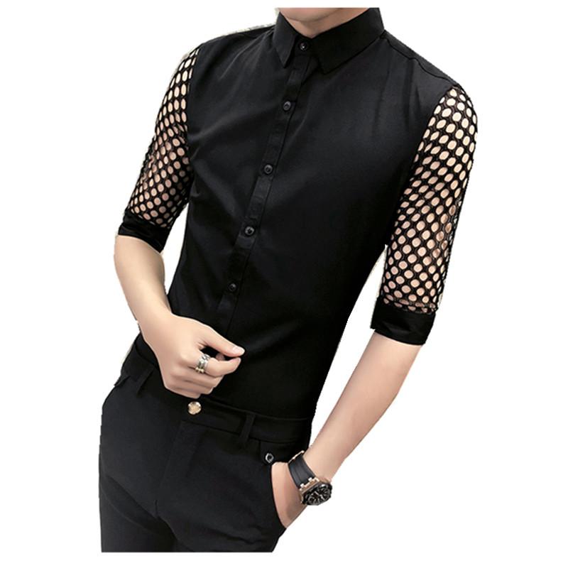 [해외]한국 남자 슬림 맞는 셔츠 2018 뉴 여름 패션 레이스 중공 턱시도 셔츠 남성 하프 캐주얼 나이트 클럽 싱어 셔츠 남자/Korean Men Slim Fit Shirt 2018 New Summer Fashion Lace Hollow Tuxedo Shirts Me