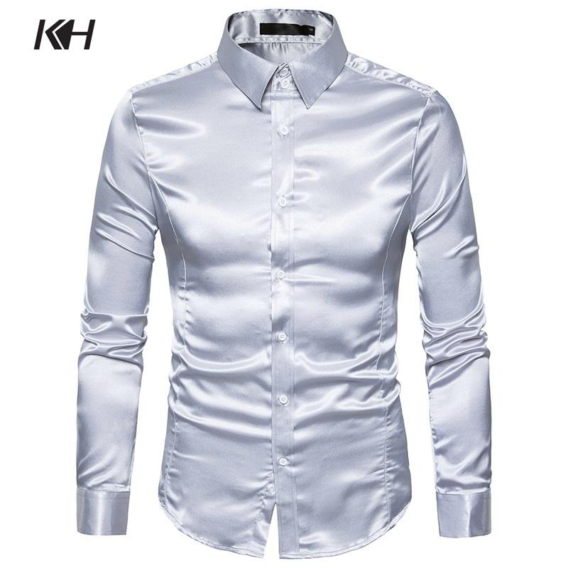 [해외]KH Mens 패션 반짝 이는 새틴 긴 Retail 캐주얼 셔츠 남자 & 슬림 맞는 복장 셔츠 성능 의류 연회 셔츠 10 색/KH Mens Fashion Shiny Satin Long Sleeve Casual Shirts Men&s Slim Fit Dre