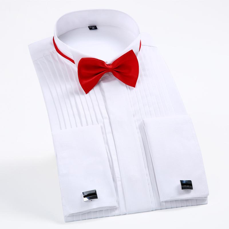 [해외]남성용 긴팔 윙 칼라 1 / 4 & Pleat Tuxedo Dress Shirt 프랑스 커프스 티 무료 결혼식 신랑 셔츠 탑스/Men&s Long Sleeve Wing Collar 1/4& Pleat Tuxedo Dress Shirt French Cuff