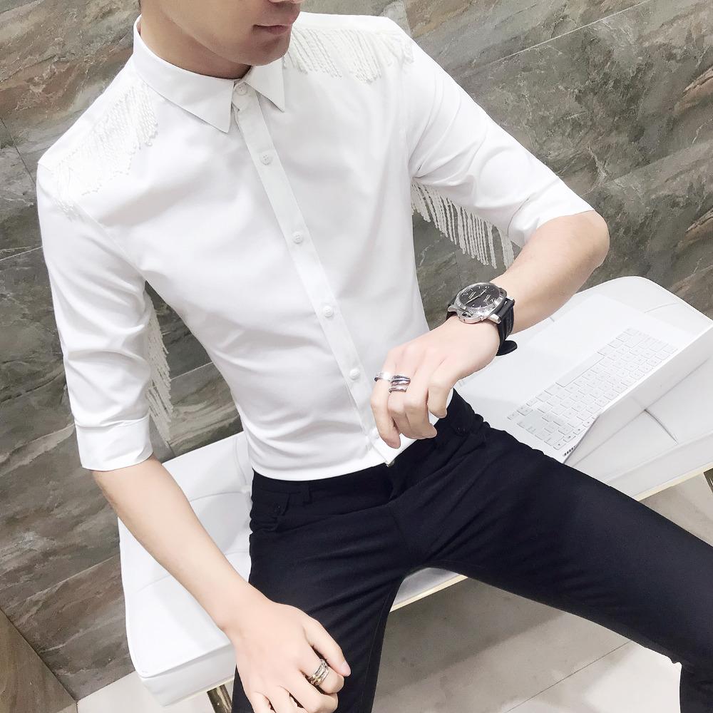 [해외]?남자 셔츠 여름 새로운 간단한 단색 캐주얼 드레스 셔츠 남자 슬리브 슬림 맞는 술 디자인 사회 셔츠 남자 3XL-M/ Men Shirt Summer New Simple Solid Casual Dress Shirts Men Half Sleeve Slim Fit