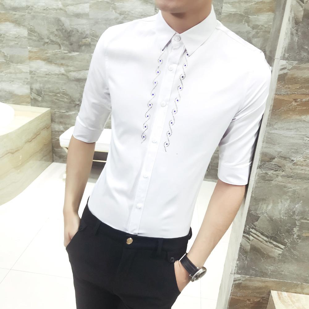 [해외]2018 뉴 여름 남성 셔츠 슬림 피트 캐주얼 복장 셔츠 남성 플러스 사이즈 나이트 클럽 턱시도 셔츠 남성복 프로모션/2018 New Summer Men Shirt  Slim Fit Casual Dress Shirts Men Plus Size Night Club