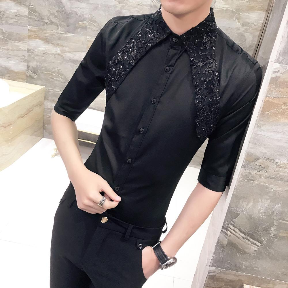 [해외]최고 품질 남자 셔츠 여름 2018 슬림 맞는 캐주얼 새로운 드레스 셔츠 망 절반 슬리브 레이스 패치 워크 플러스 크기 사회 셔츠 남성/Top Quality Men Shirt Summer 2018 Slim Fit Casual New Dress Shirts Men