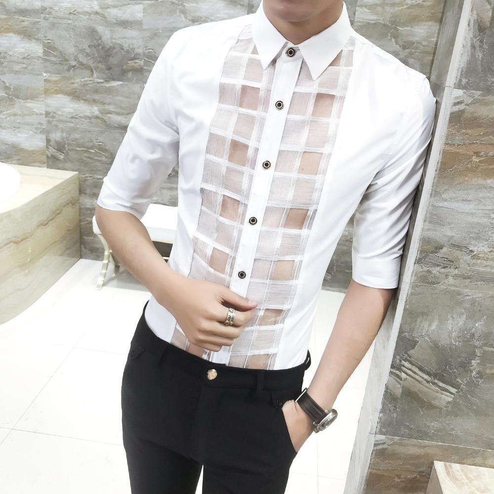 [해외]패션 디자이너 남자 셔츠 2018 여름 슬림 맞는 턱시도 셔츠 레이스 패치 워크 할로우 사회 셔츠 남자 하프 슬리브 블라우스 옴므/Fashion Designer Men Shirt 2018 Summer Slim Fit Tuxedo Shirts Lace Patchw
