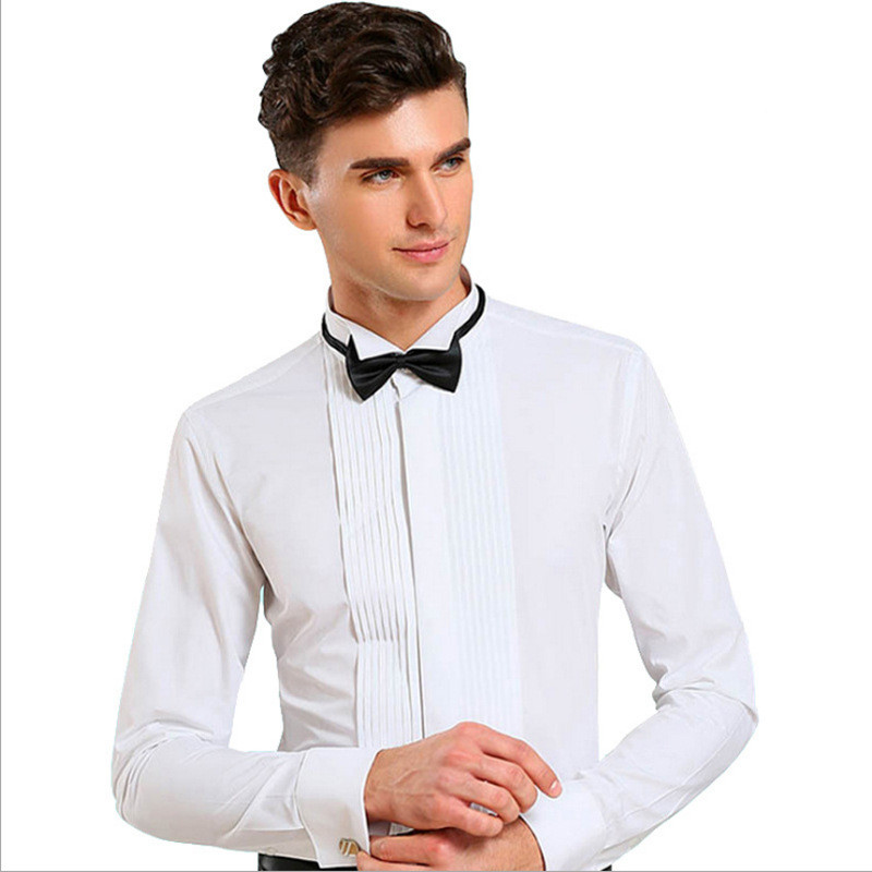 [해외]남성 드레스 셔츠 브랜드 웨딩 긴 Retail 공식 셔츠 파티 순수한 색 나비 넥타이 커프스 단추 남자 턱시도 프렌치 플러스 크기 4XL/Men Dress Shirt Brand Wedding Long Sleeve  Formal Shirt Party Pure co