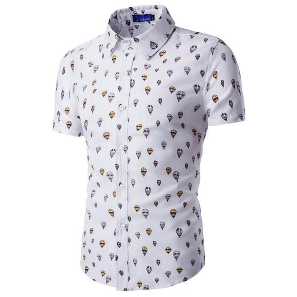 [해외]풍선 인쇄 참신한 셔츠 잘 생긴 소년 캐주얼 Streetwear Blusa 보이 슬림 셔츠 낙하산 인쇄 남성 탑스 다운 - 다운 칼라/Balloon Print Novelty Shirt Handsome Boy Casual Streetwear Blusa Boy Sl