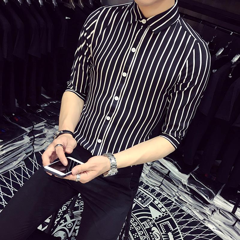 [해외]한국어 스트라이프 셔츠 남성 여름 하프 슬리브 비즈니스 캐주얼 남성 셔츠 슬림 피트 브랜드 디자이너 Chemise Homme Plus Size 5XL-S/Korean Striped Shirt Men Summer Half Sleeve Business Casual