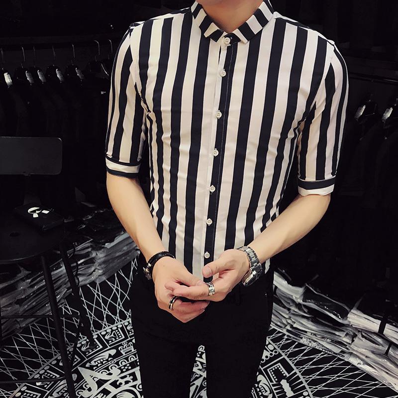 [해외]?남성 캐주얼 셔츠 브랜드 새 여름 스트라이프 소셜 셔츠 드레스 하프 슬리브 나이트 클럽 턱시도 셔츠 플러스 사이즈 블라우스 옴므/ Men Casual Shirt Brand New Summer Striped Social Shirts Dress Half Sleev