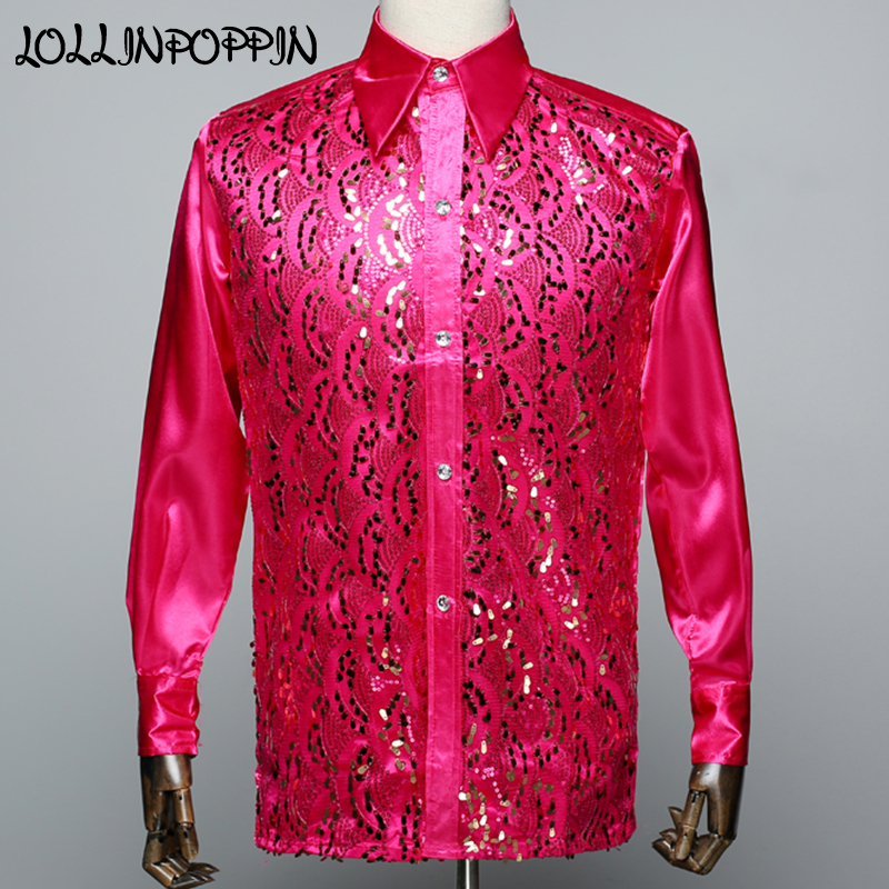 [해외]긴 Retail 망 셔츠 날카로운 단계 무대 성능 셔츠 싱글 브레스트 Emcee Compere Paillette Shirt/Long Sleeve Mens Sequin Shirt Turn Down Collar Stage Performance Shirts Singl