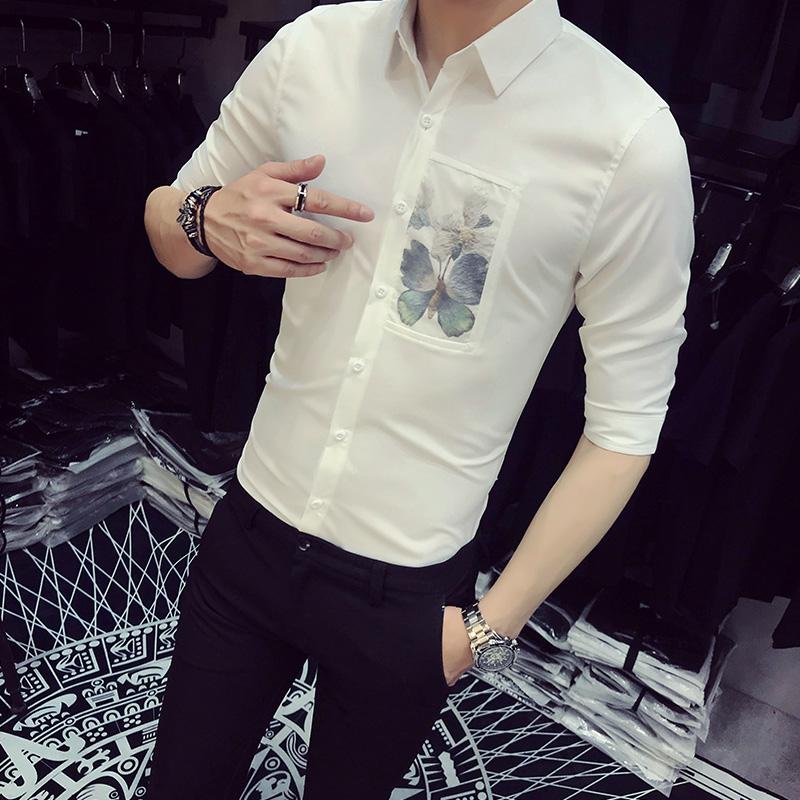 [해외]품질 화이트 셔츠 남자 여름 브랜드 뉴 슬림 맞는 버터 플라이 프린트 턱시도 셔츠 하프 캐주얼 비즈니스 워크 셔츠 남성 2XL/Quality White Shirt Men Summer Brand New Slim Fit Butterfly Print Tuxedo Sh