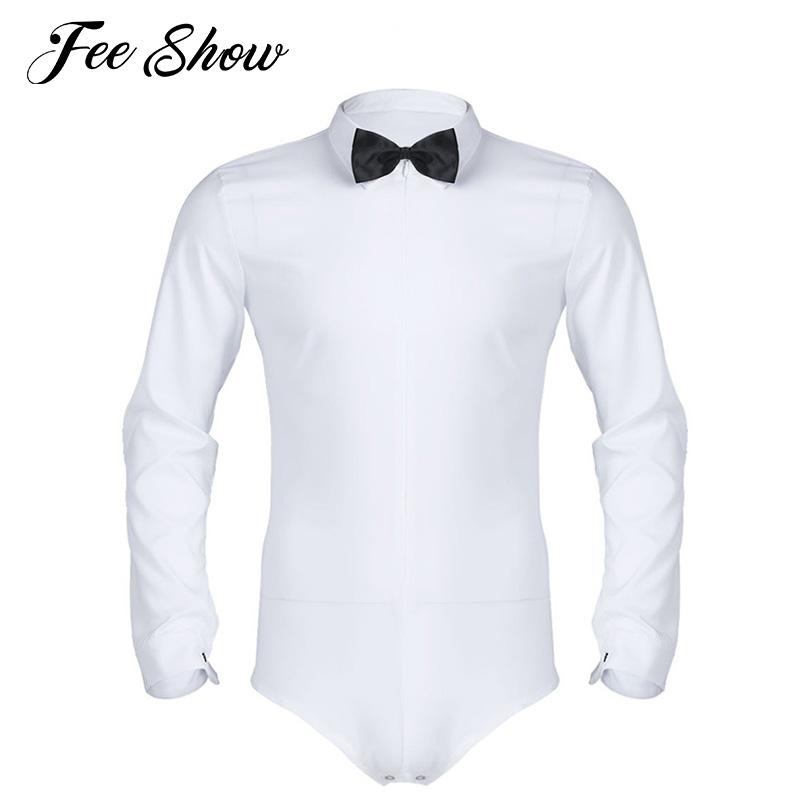 [해외]화이트 남성 긴 Retail 지퍼 단색 라틴 현대 댄스 셔츠 검은 색 Bowtie 부드러운 부드러운 한 조각 Romper 턱시도 셔츠/White Mens Long Sleeve Zipper Solid Color Latin Modern Dance ShirtBlack