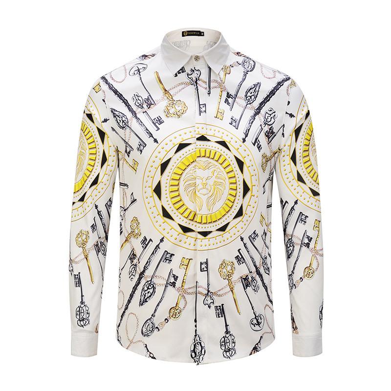 [해외]2018 Men Camisas Mamiseta Masculina 셔츠 패션 브랜드 디자이너 3D Tuxedo Shirts Homme 캐주얼 슬림 피트 긴팔 셔츠 남성/2018 Men Camisas Mamiseta Masculina Shirt Fashion Bra