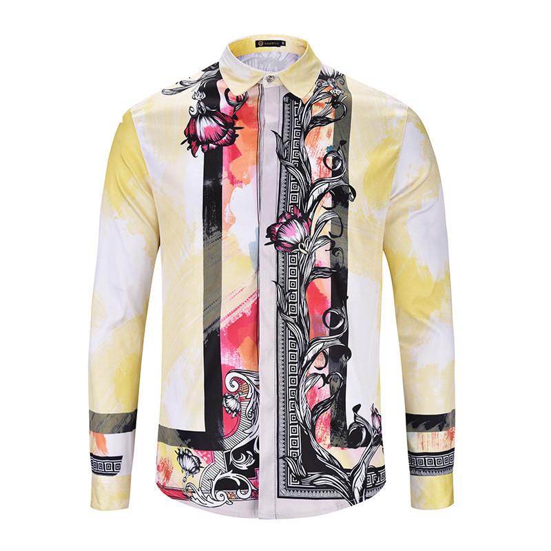 [해외]Men Camisas Mamiseta Masculina Shirt 패션 브랜드 디자이너 3D 턱시도 셔츠 옴므 캐주얼 슬림 피트 롱 슬리브 하와이안 남성/Men Camisas Mamiseta Masculina Shirt Fashion Brand Designer