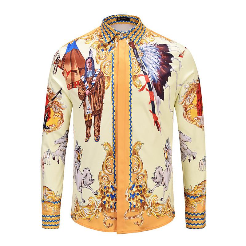 [해외]2018 남성 하와이 고딕 셔츠 남성 옴므 패션 브랜드 코튼 럭셔리 팬시 3D 프린트 남성 캐주얼 슬림 피트 턱시도 셔츠/2018 Mens Hawaiian Gothic Shirt Men Homme Fashion Brand Cotton Luxury Fancy Sh