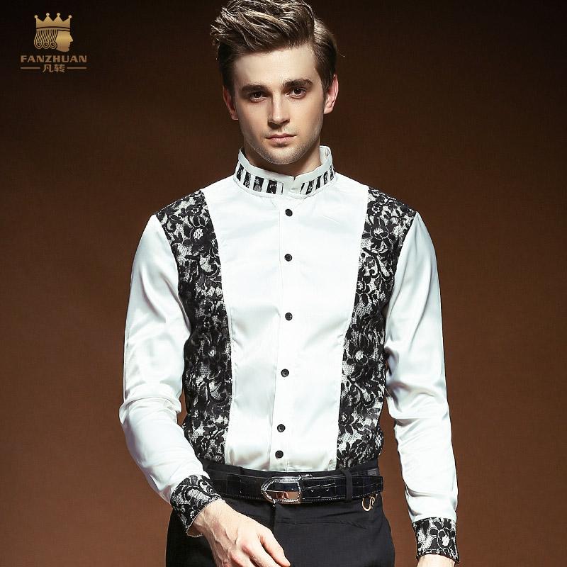 [해외]FANZHUAN 인기 브랜드 의류 남성 & 남성 셔츠 신랑 웨딩 파티 용 이브닝 드레스 바느질 칼라 긴 Retail 레이스 셔츠/FANZHUAN Featured Brands Clothing Men&s Shirts Groom Wedding Party Eve