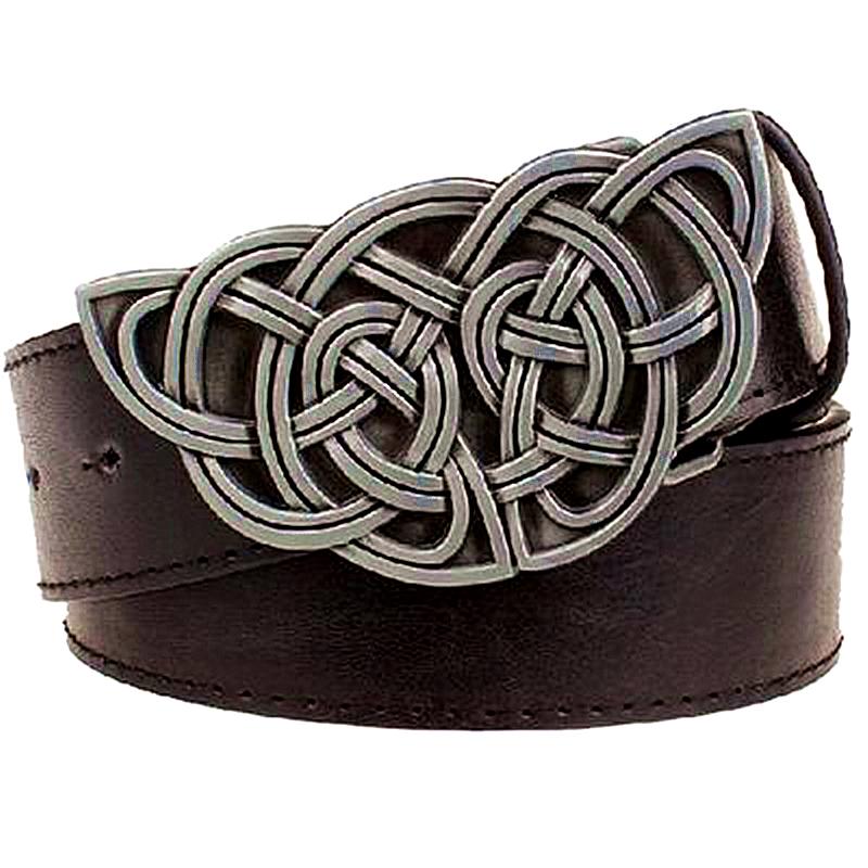 [해외]레트로 여성 & S 가죽 벨트 직물 스트라이프 패턴 켈트 매듭 스타일 캐주얼 남성 벨트 어 매듭 벨트 청바지 스트랩 금속 버클/Retro women&s leather belt Weave stripe pattern Celtic knot style casua