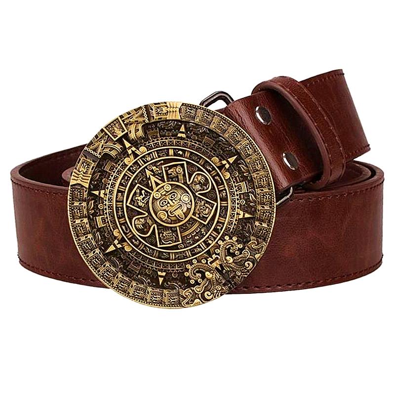 [해외]아즈텍 일요일 가죽 캘린더 레트로 마야 태양 달력 캘린더 벨트 원형 벨트 버클 펑크/Personality mens belt leather metal Aztec Sun Calendar Retro Mayan Solar Calendar pattern belt  rou