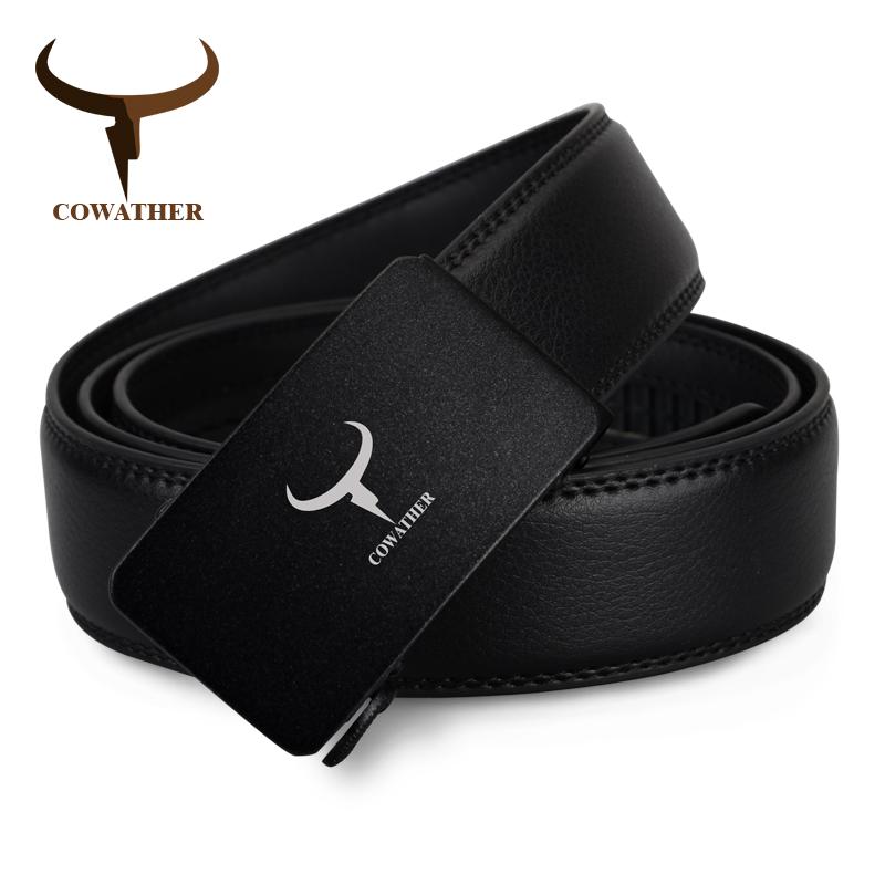 [해외]COWATHER 2017 Mens fashion 100 % 암소  ??가죽 벨트 자동 버클 럭셔리 블랙 남성 스트랩 고품질/COWATHER 2017 Mens fashion 100% cow genuine leather belt automatic buckle lux