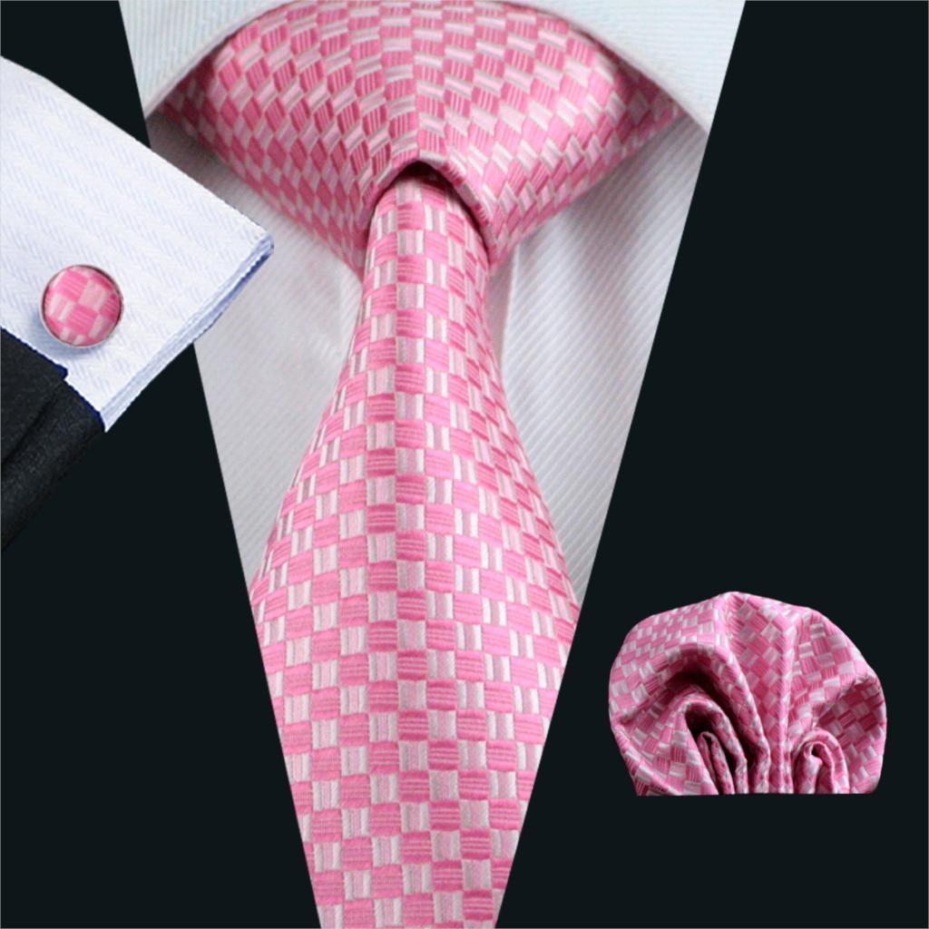 [해외]FA-448 Gents 넥타이 핑크 격자 무늬 100 % 실크 자카드 넥타이 행 커 커 프 스 단추 남자에 대 한 비즈니스 웨딩 파티 관계 설정/FA-448 Gents Necktie Pink Plaid 100% Silk Jacquard Tie Hanky Cuff