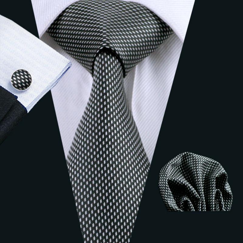 [해외]LS-466 남성용 넥타이 100 % 실크 기하학적 자카드 직물 클래식 Gravata Tie + Hanky ??+ 커프스 링크/LS-466 Men`s Tie 100% Silk Geometric Jacquard Woven Classic Gravata Tie+Han