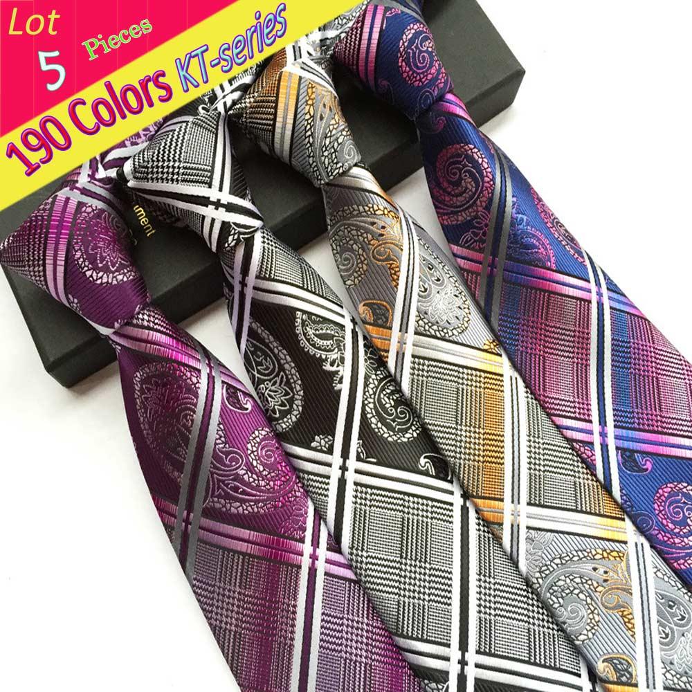 [해외]KT (Lot 5 Pieces) 8Cm 남성용 클래식 타이 빈티지 격자 무늬 페이즐리 2016 NEW OEM Grooms Ties 웨딩 생일 넥타이 선물/KT Wholesale (Lot 5 Pieces) 8Cm Men&s Classic Tie Vintage Pl