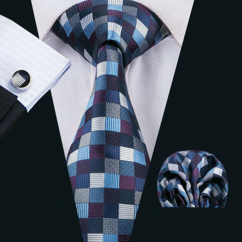[해외]LS-1538 Barry.Wang 클래식 남성 넥타이 100 % 실크 블루 격자 무늬 넥타이 한키 커 프 스 링크 남자의 결혼식 파티 비즈니스에 대 한 설정/LS-1538 Barry.Wang Classic Men`s Tie 100% Silk Blue Plaid