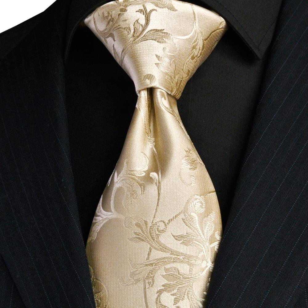 [해외]우아한 꽃 솔리드 크림 베이지 샴페인 골드 망 넥타이 백퍼센트 실크 자카드 직물/Elegant Floral Solid Cream Beige Champagne Gold Mens Ties Neckties 100% Silk Jacquard Woven  Wholesal