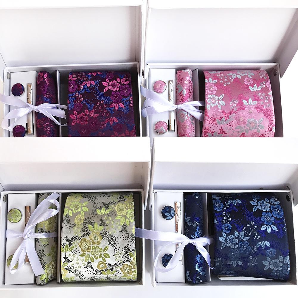 [해외]3.35inch (8 Cm) 와이드 앙상블 실버 페이즐리 맨 타이, 손수건, 핀 및 커프스 링크 Gift Box Packing Many Color/3.35inch(8 Cm) Wide Ensemble Silver Paisley Man Tie, Handkerchie