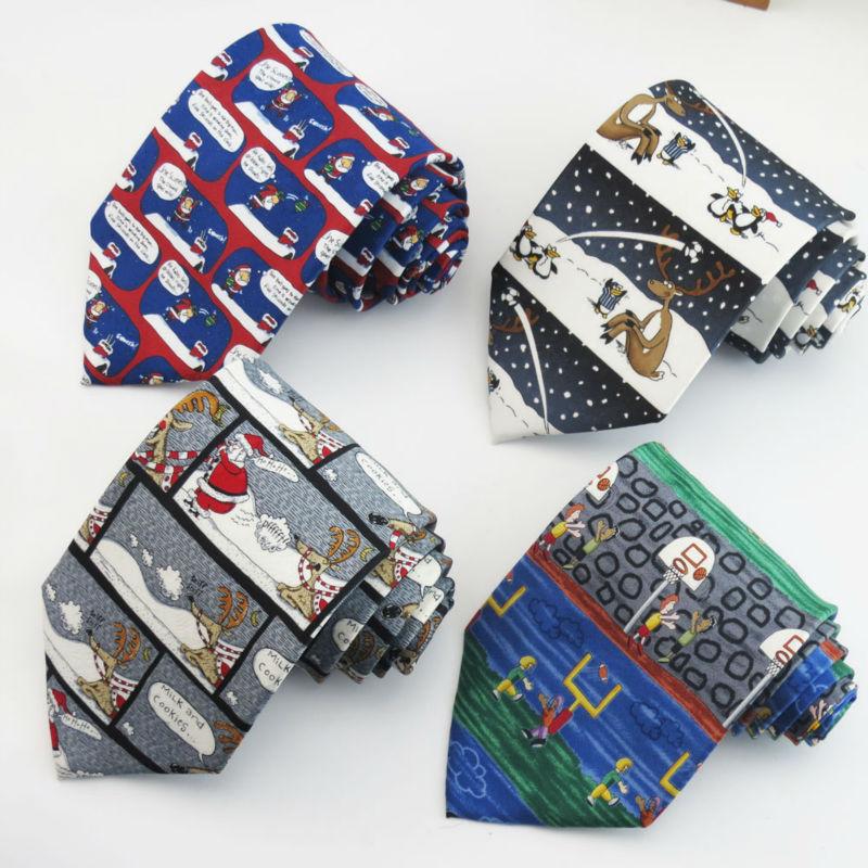 [해외]패션 소설 인쇄 넥타이 크리스마스와 만화 패턴 디자인 넥타이 남성 의류 액세서리 넥타이 사랑/Fashion novel printed ties Christmas and cartoon pattern design necktie men love Clothing acce