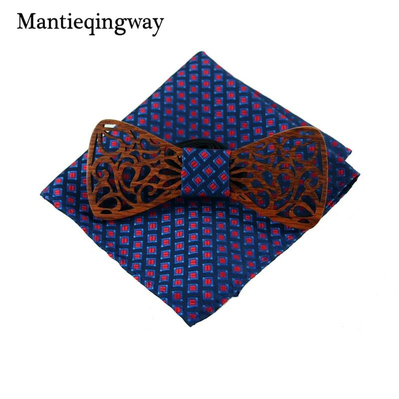 [해외]Mantieqingway 절묘한 중공 새겨진 나무 활 타이 Hnadkerchief는 웨딩 우드 Bowties Bowknot Cravate를 설정합니다/Mantieqingway Exquisite Hollow Carved Wooden Bow Ties Hnadkerc