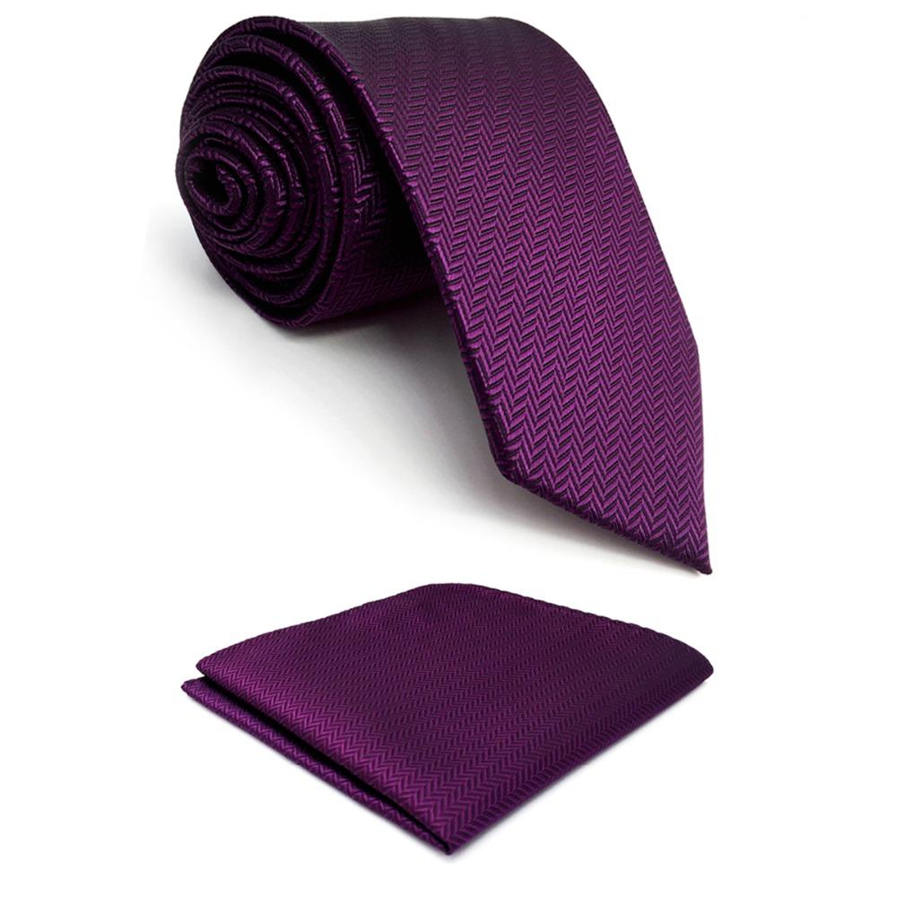 [해외]C11 자주색 단단한 실크 망 넥타이 세트 결혼식을고전적인 넥타이 남성 복장 액세서리 Hanky ??extra long size 63 &/C11 Purple Solid Silk Mens Necktie Set Wedding Classic Ties for m