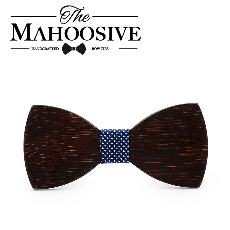 [해외]Mahoosive 블랙 우드 참신 웨딩 파티 폴리 에스터 Bowtie Papillon 남자 여자 보우 타이 솔리드 컬러 Bolo Neckwear 싸구려 넥타이/Mahoosive Black wood Novelty Wedding Party Polyester Bowt