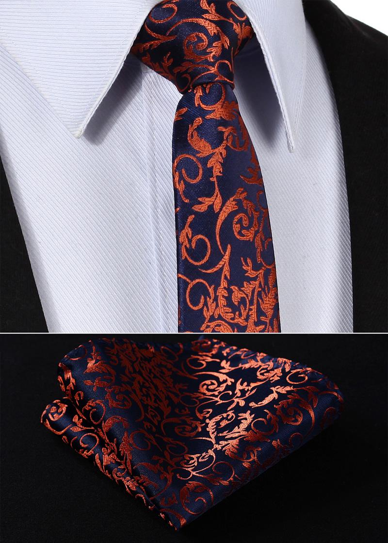 [해외]TF2014N7 네이비 블루 오렌지 꽃 2.75 & 100 % 실크 짠 슬림 스키니 좁은 남자 넥타이 넥타이 손수건 포켓 스퀘어 슈트 세트/TF2014N7 Navy Blue Orange Floral 2.75& 100%Silk Woven Slim Skinn