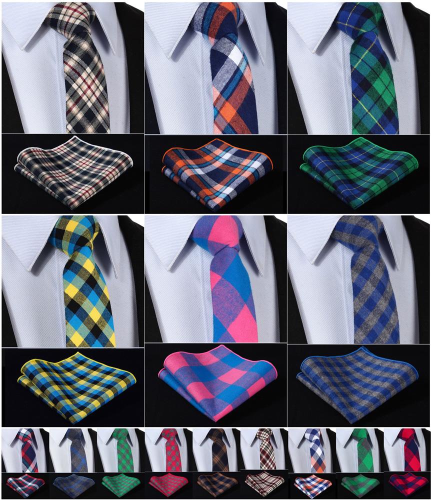 [해외]체크 2.75 & 100 % 커튼 프린트 슬림 스키니 네 로우 넥타이 넥타이 손수건 포켓 스퀘어 슈트 I7 세트/Check 2.75& 100%Cotton Printed Slim Skinny Narrow Men Tie Necktie Handkerchief