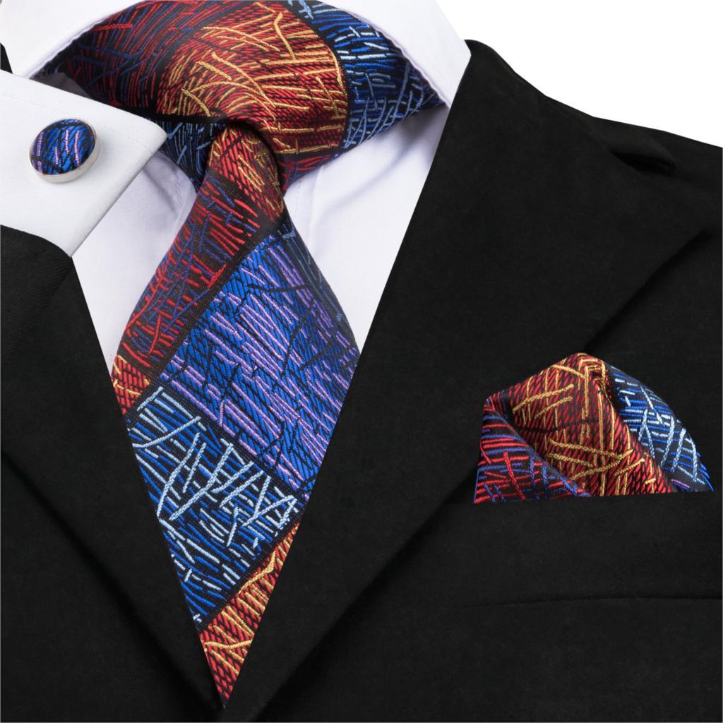 [해외]하이 - 타이 100 % 실크 핸드 짠 넥타이 Corbatas Hombre 2018 패치 워크 넥타이 패션 격자 무늬 넥타이 커 프 스 단추 포켓 스퀘어 C-1687/Hi-Tie 100% Silk Hand Woven Tie Corbatas Hombre 2018