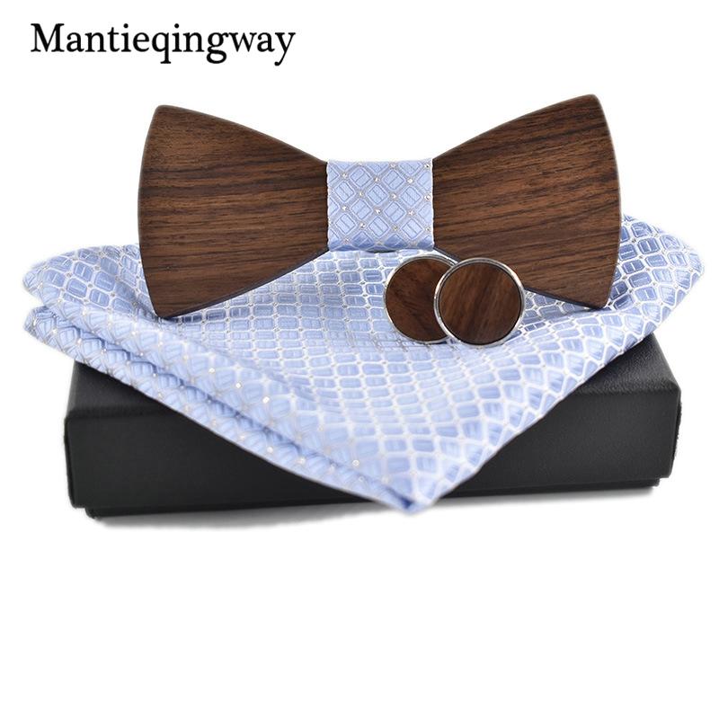 [해외]Mantieqingway 성격 나무 활 관계 Hanky ??망 결혼식 정장 비즈니스 나무 Bowtie Hadkerchief 커프스 단추 세트/Mantieqingway Personality Wood Bow Ties Hanky Set for Mens Wedding