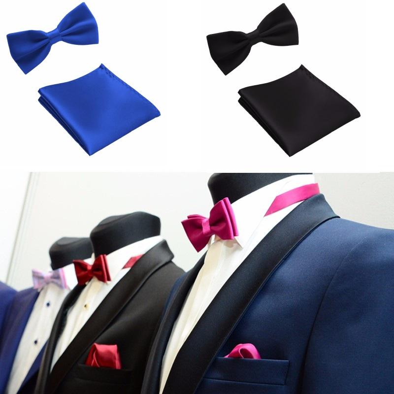 [해외]넥타이 세트 남성 의류 잡화, 악세사리 & 가방 구두 손목 시계 주얼리 잡화 포켓 잡화 솔리드 컬러 폴리 에스테르 버터 플라이 손수건/Tie Set Men&s Apparel Accessories Bow Ties Pocket towel Mariage Sol