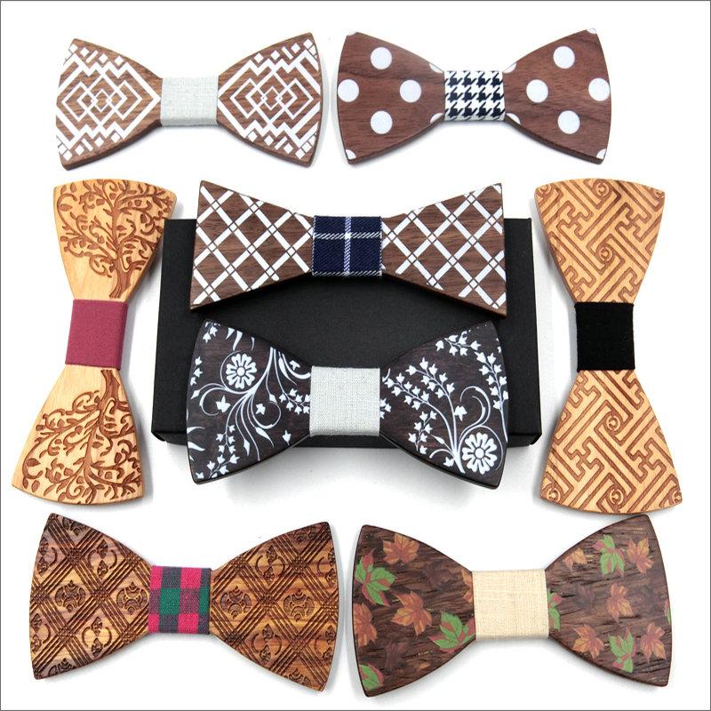 [해외]2018 패션 디자인 참신 격자 무늬 도트 줄무늬 빈티지 선물 나무 활의 넥타이 고전적인 수제 나비 정장 나무 목 착용 넥타이/2018 Fashion Design Novelty Plaid Dot Striped Vintage Gift Wooden Bow Ties
