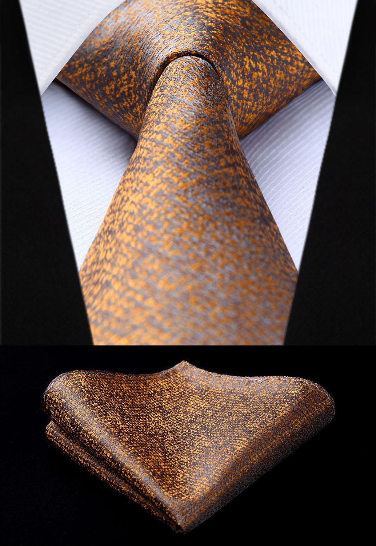 [해외]TC610Z8S 브라운 체크 & amp; 격자 무늬 3.4 & 실크 넥타이 세트 파티 정사각형 웨딩 포켓 정사각형 넥타이 넥타이 손수건 세트/TC610Z8S Brown Check & Plaid 3.4& Silk Tie set party we