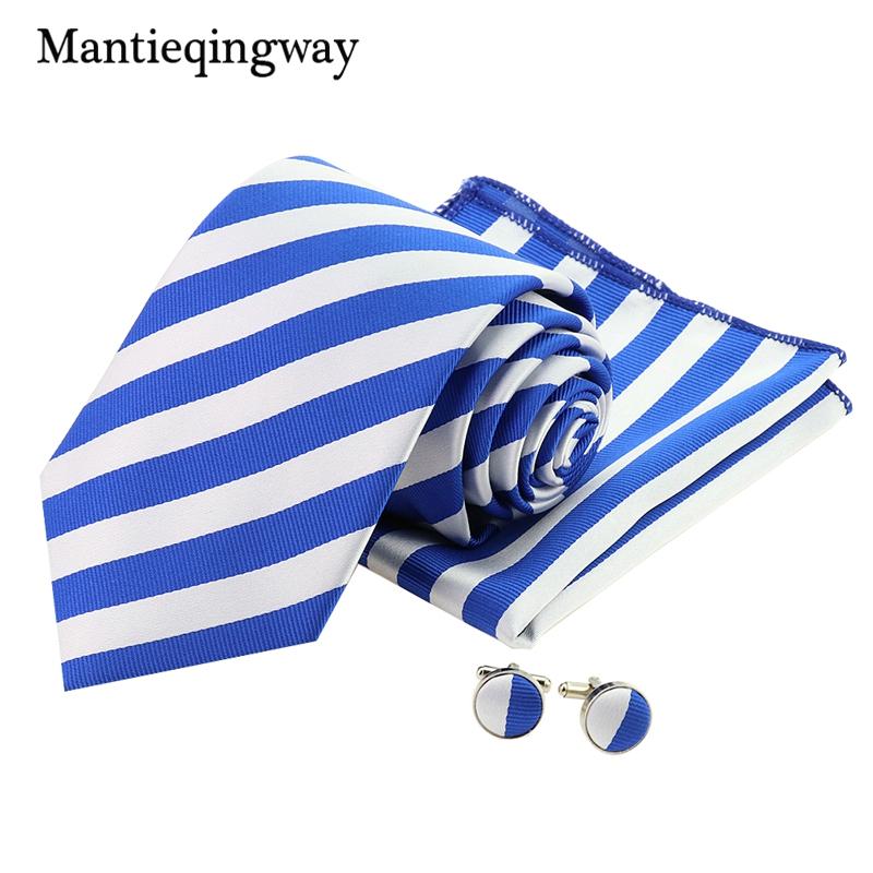 [해외]Mantieqingway 줄무늬 넥타이 가슴 수건 커프스 단추 남자 Gravatas Corbatas Hanky ??캐쥬얼 웨딩 비즈니스 포켓 스퀘어 세트/Mantieqingway Striped Necktie Chest Towel Cufflinks Sets For