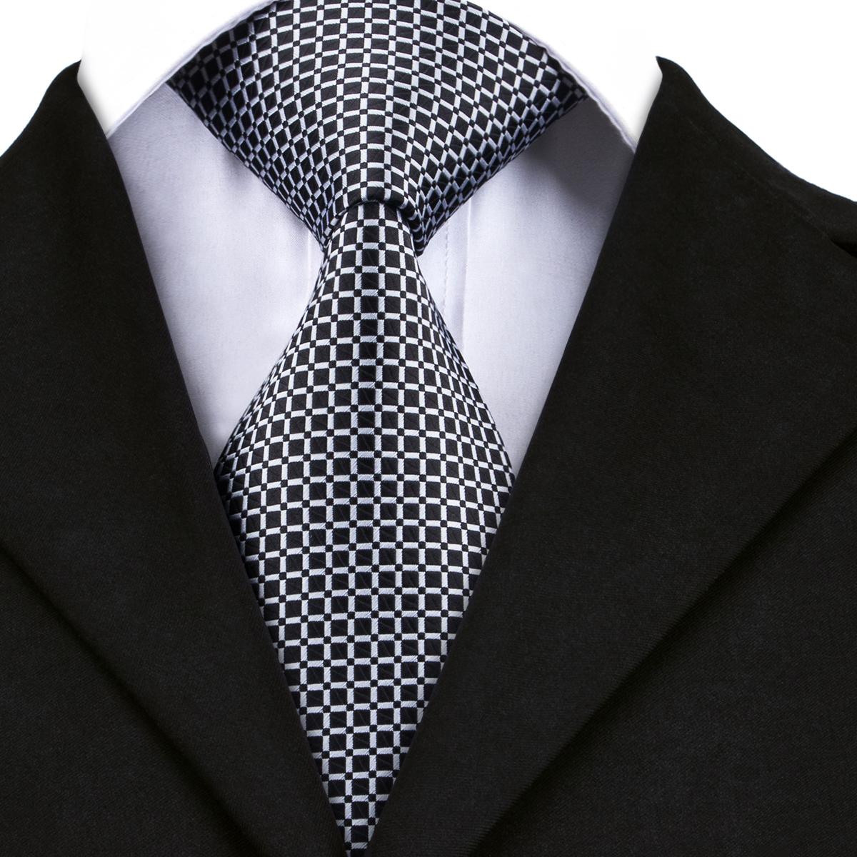 [해외]하이 - 넥타이 브랜드 블랙 망 넥타이 패션 격자 무늬 넥타이 100 % 실크 핸드 남자 자갈 정연한 넥타이 공식적인 넥타이 8.5cm DN-1483/Hi-Tie Brand Black Mens Ties Fashion Plaid Necktie 100% Silk H